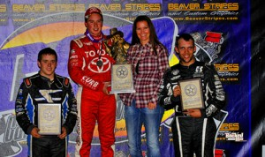Christopher Bell (center) dominated the midget portion of Thursday's Western World Championships. He is joined on the podium by runner-up Brady Bacon (left) and third-place Bryan Clauson. (Patrick Shaw photo)