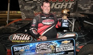 Ray Cook in victory lane Saturday night at Bubba Raceway Park in Florida. (NeSmith photo)