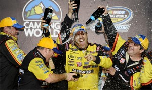NASCAR Camping World Truck Series Champion Matt Crafton celebrates in Victory Lane with his teammates after the NASCAR Camping World Truck Series Ford EcoBoost 200 at Homestead-Miami Speedway in Homestead, Florida. (NASCAR Photo)