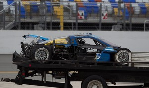 Richard Westbrook escaped injury when his Spirit of Daytona Prototype machine became airborne and flipped sustaining significant damage. (Photo: Ted Rossino)