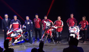 Honda motorcycle racers helped roll out the brand's new line of bikes Monday in Milan, Italy. (Honda photo)
