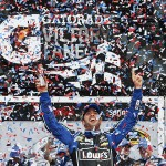 Jimmie Johnson celebrates in victory lane after winning the NASCAR Sprint Cup Series Daytona 500 at Daytona International Speedway on February 24, 2013 in Daytona Beach, Florida.  (Photo by Chris Graythen/Getty Images)