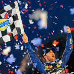 Jimmie Johnson, driver of the No. 48 Lowe's Chevrolet, celebrates in Victory Lane after winning the NASCAR Sprint Cup Series AAA Texas 500 at Texas Motor Speedway in Fort Worth, Texas.  (NASCAR Photo)