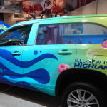 If you don't love this your kids will, the SpongeBob Toyota Highlander Fish Tank. Yes it has fish in it, about 113 or so. (Ralph Sheheen Photo)