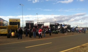 A full sprint car pit area during Thursday's opening day of the World of Outlaws World Finals at The Dirt Track at Charlotte. (Mike Kerchner photo)