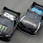 Kyle Busch (54) and Kyle Larson race to the finish during the NASCAR Nationwide Series Jeff Foxworthy's Grit Chips 300 at Bristol Motor Speedway on March 16. (Jeff Zelevansky/NASCAR via Getty Images)