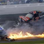 Kyle Larson's season started with this vicious crash during the NASCAR Nationwide Series Drive4COPD 300 at Daytona Int'l Speedway. (HHP/Harold Hinson)