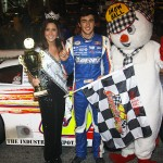 Chase Elliott stands in victory lane after winning the Snowflake 100 on Saturday at Five Flags Speedway. (Chris Owens Photo)