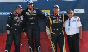 Laurance Yap (far right) poses with podium finishers after the Ultra 94 Porsche GT3 Cup Challenge Canada by Michelin Series event at Canadian Tire Motorsport Park.