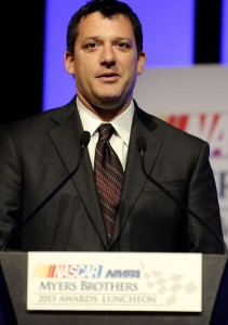 Tony Stewart during the 2013 NMPA Myers Brothers Awards Luncheon. (NASCAR Photo)