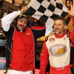 Dave Darland celebrates after winning the Turkey Night Grand Prix on Thursday at Perris (Calif.) Auto Speedway. (Doug Allen Photo)