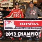 Christopher Bell captured the 2013 Honda USAC National Dirt Midget Series championship Thursday at Perris (Calif.) Auto Speedway. (Doug Allen Photo)