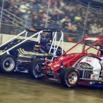 Dave Darland (52) and Isaac Chappell (52c) during Saturday's Rumble in Fort Wayne midget event at the Memorial Coliseum Expo Center in Fort Wayne, Ind. (Chris Seelman Photo)