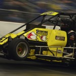 Bobby East on track during midget action as part of the Rumble in Fort Wayne at the Memorial Coliseum Expo Center in Fort Wayne, Ind., on Friday night. (Chris Seelman Photo)