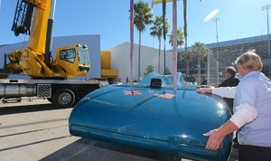 Sir Malcolm Campbell's Bluebird V returned to Daytona Int'l Speedway Wednesday. (DIS photo)