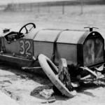 A crashed car from the 1911 Indy 500 On May 30, 1911. (IMS Photo)