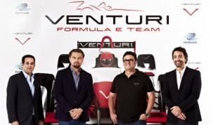 (From left) Bert Hedaya, Leonardo DiCaprio, Gildo Pallanca Pastor and Francesco Costa have partnered to form a team to compete in the new FIA Formula E Championship. (Venturi Automobiles Photo)