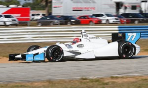 Simon Pagenaud puts his No. 77 through its paces Wednesday at Sebring Int'l Raceway in Florida. (IndyCar photo)