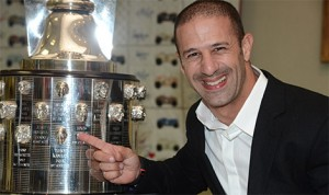 2013 Indianapolis 500 winner Tony Kanaan became the 100th face on the Borg-Warner Trophy, which features the three-dimensional sterling silver image of every Indianapolis 500 winner dating back to Ray Harroun in 1911. (IMS Photo)
