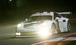 The PORSCHE NORTH AMERICA team has entered two 2014-spec Porsche 911 RSR GT cars in the upcoming TUDOR United SportsCar Championship; seen here is the 20014-spec car as it ran in the last FIA-WEC race in Baharain last month. (Porsche Photo)