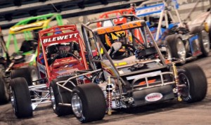 Anthony Sesely leads the three-quarter midget field en route to winning Friday's event NAPA Know How Indoor Racing event at Boardwalk Hall in Atlantic City, N.J. (Pete MacDonald Photo)
