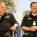 Gene Haas (left) shares a laugh with Tony Stewart during the NASCAR Sprint Media Tour. (HHP/Christa L. Thomas Photo)