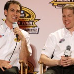 Penske Racing teammates Joey Logano and Brad Keselowski during the NASCAR Sprint Media Tour. (HHP/Christa L. Thomas Photo)