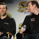 Joe Gibbs Racing teammates Matt Kenseth and Kyle Busch during the NASCAR Sprint Media Tour. (HHP/Christa L. Thomas Photo)