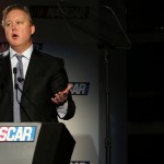 Brian France addresses the media during the NASCAR Sprint Media Tour. (HHP/Christa L. Thomas Photo)