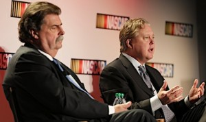 NASCAR President Mike Helton (left) and Chairman Brian France during Thursday's announcement at the NASCAR Hall of Fame. (HHP/Harold Hinson photo)