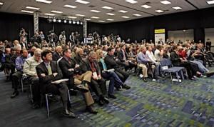 A full room of media awaits the remarks of NASCAR Chairman Brian France Thursday at the NASCAR Hall of Fame. (HHP/Harold Hinson photo)