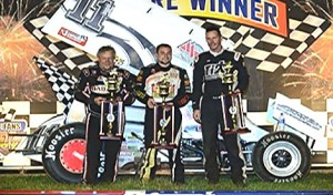Kraig Kinser (center) shares the podium with his father Steve and Dale Blaney (right) Saturday at Australia's Valvoline Raceway. (Valvoline Raceway photo)