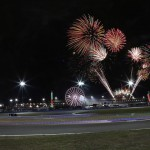 Fireworks explode in the night during the 2014 TUDOR United SportsCar Championship Rolex 24 at Daytona Int'l Speedway. (Jerry Markland/Getty Images Photo)