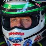 John Force sits in his NHRA Funny Car during testing on Saturday at Palm Beach Int'l Raceway. (Rhonda Hogue McCole Photo)