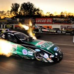In a unique match-up, John Force (near lane) lined up his NHRA Funny Car against the NHRA Top Fuel dragster of his daughter Brittney Force during the Pro Winter Warm-Up at Palm Beach Int'l Raceway on Saturday. (Rhonda Hogue McCole Photo)