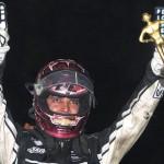 Bryan Clauson celebrates after winning the 2014 Lucas Oil Chili Bowl Midget Nationals in Tulsa, Okla., on Saturday night. (Frank Smith Photo)