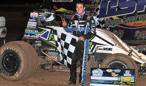 Brady Bacon in victory lane Friday night at Canyon Speedway Park. (Lonnie Wheatley photo)