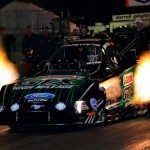 John Force lights up the night during an evening pass in his NHRA Funny Car at Palm Beach Int'l Raceway during the Pro Winter Warm-Up. (Rhonda Hogue McCole Photo)