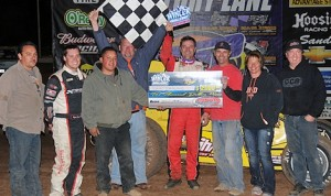 Dave Darland in victory lane at Canyon Speedway Park. (Lonnie Wheatley photo)