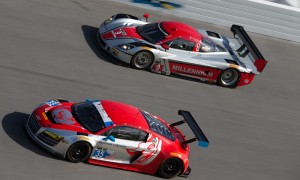 The No. 35 Flying Lizard Motorsports Audi R8 LMS races alongside the No. 9 Action Express Racing Corvette DP during testing at Daytona Int'l Speedway. (Ted Rossino Jr. Photo)