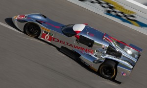 The innovative DeltaWing on the high banks of Daytona Int'l Speedway during the Roar Before the 24 TUDOR United SportsCar Championship test.. (Ted Rossino Jr. Photo)