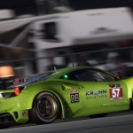 The Krohn Racing Ferrari F458 Italia in the early morning hours during the Rolex 24 on Sunday. (Ted Rossino Jr. Photo)