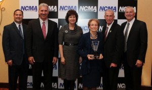Jerry Punch (left) is pictured with the Jarrett family Glenn, Patti, Martha, Ned and Dale following Monday night's North Carolina Motorsports Industry Ceremony in Concord, N.C. (Adam Fenwick photo)
