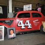 The No. 44 of legendary modified ace Al Tasnady as well as some of his memorabilia was on display during the Motorsports 2014 trade show. (Harry Cella Photo)
