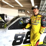 Matt Crafton, driver of the #88 Thorsport Racing Toyota stands in the garage during NASCAR Preseason Thunder at Daytona International Speedway on January 14, 2014 in Daytona Beach, Florida.  (Photo by Jerry Markland/NASCAR via Getty Images)