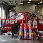 The #28 FDNY Racing Chevrolet driven by Ryan Ellis sits in the garage during NASCAR Preseason Thunder at Daytona International Speedway on January 14, 2014 in Daytona Beach, Florida.  (Photo by Jerry Markland/NASCAR via Getty Images)