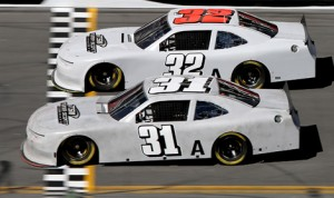 Turner Scott Motorsports teammates Dylan Kwasniewski (31) and Kyle Larson during Sunday's NASCAR Nationwide Series test at Daytona Int'l Speedway. (NASCAR Photo)