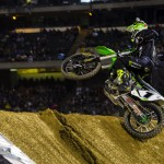 Ryan Villopoto climbs a jump en route to winning Saturday's Monster Energy Supercross race at O.co Coliseum in Oakland. (Kawasaki photo)