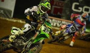 Ryan Villopoto (1) leads Justin Brayton Saturday night at Chase Field. (Michael Bartovsky photo)
