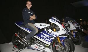 2012 MotoGP world champion Jorge Lorenzo with the 2014 Yamaha YZR-M1. (Yamaha Photo)